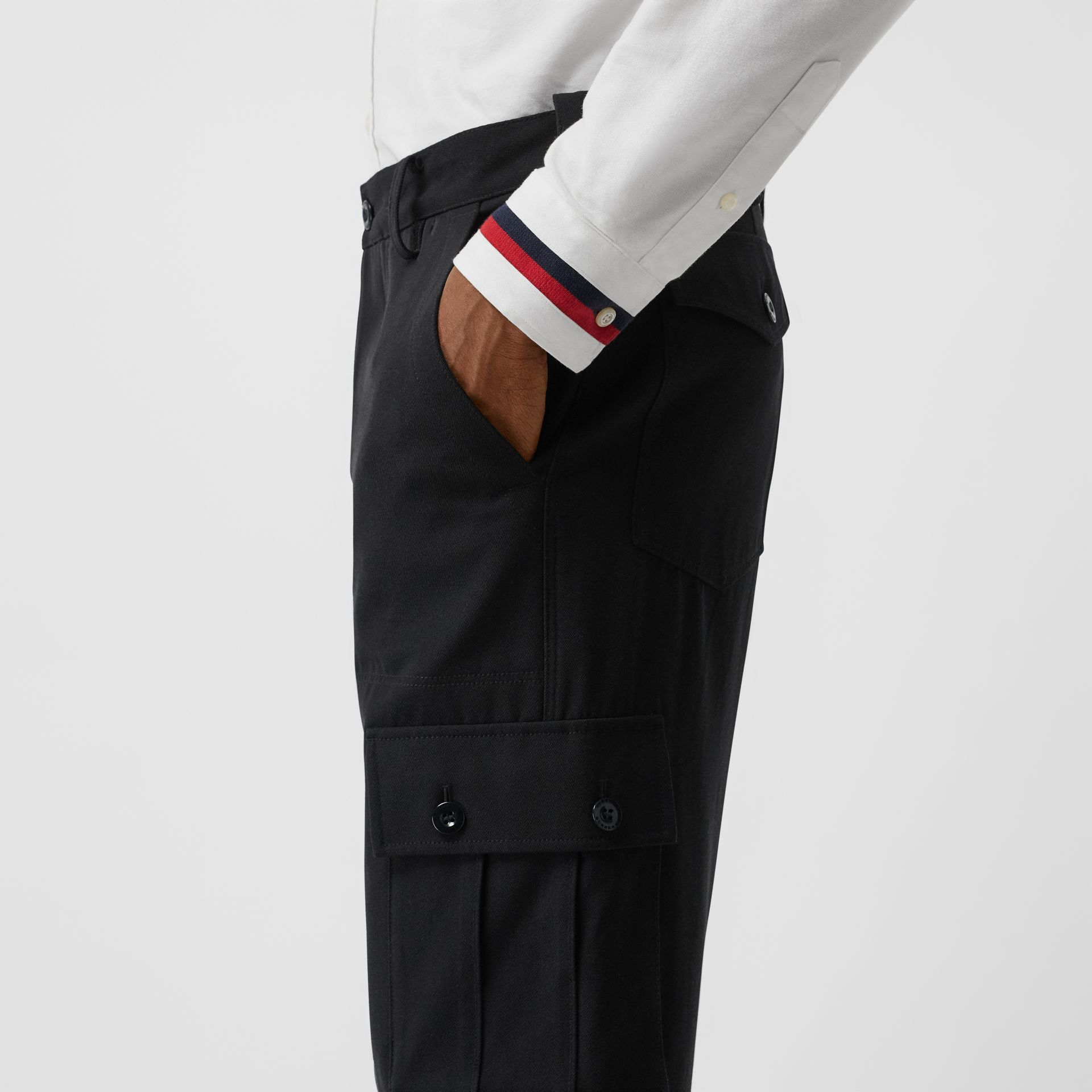 Cotton Wool Blend Cropped Cargo Trousers in Black - Men | Burberry - gallery image 1