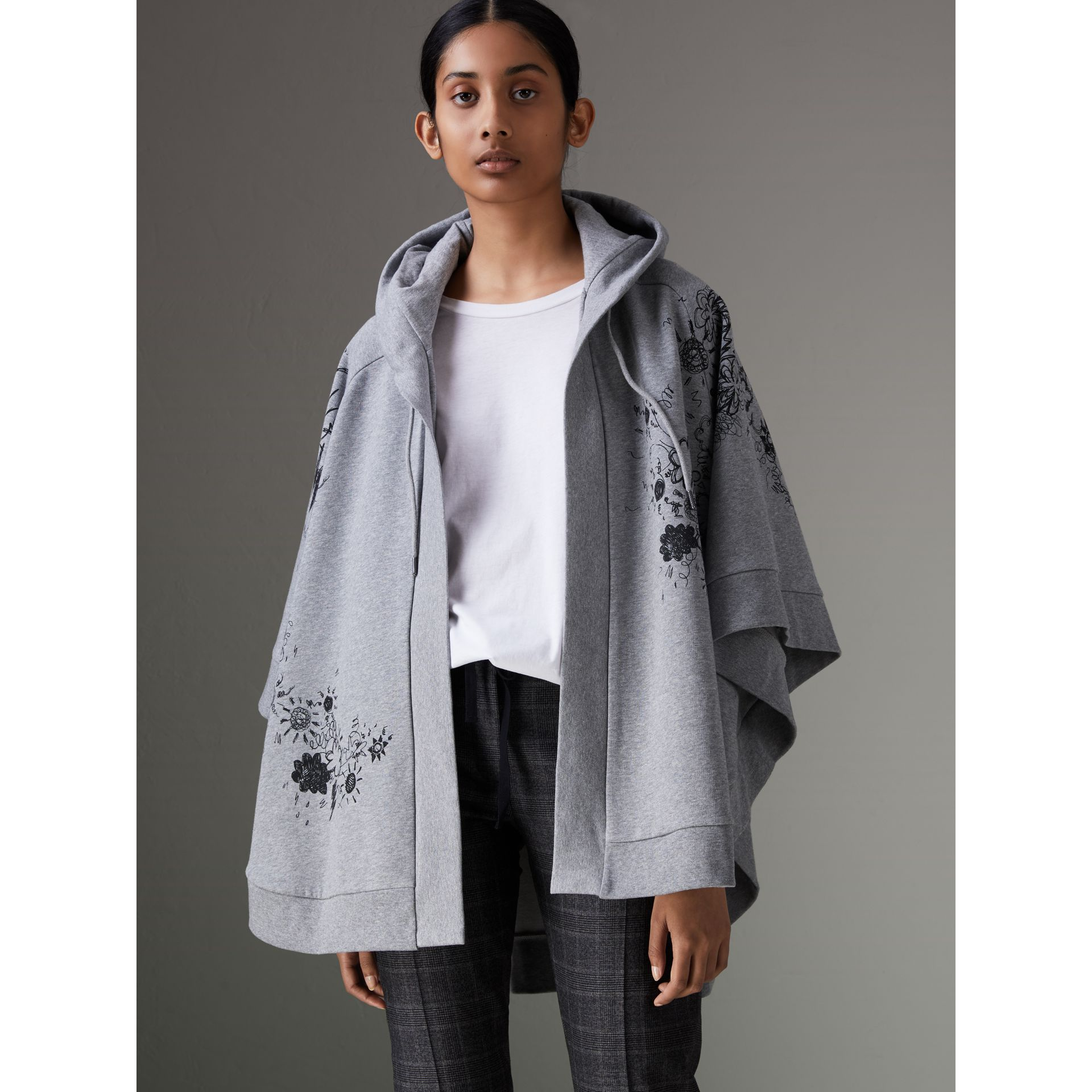 Doodle Print Jersey Hooded Cape in Pale Grey Melange - Women | Burberry - gallery image 4