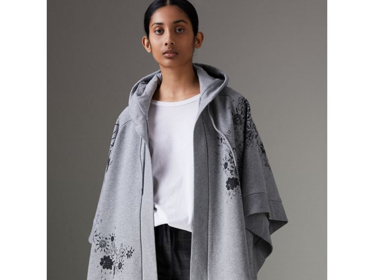 Doodle Print Jersey Hooded Cape in Pale Grey Melange - Women | Burberry - cell image 4