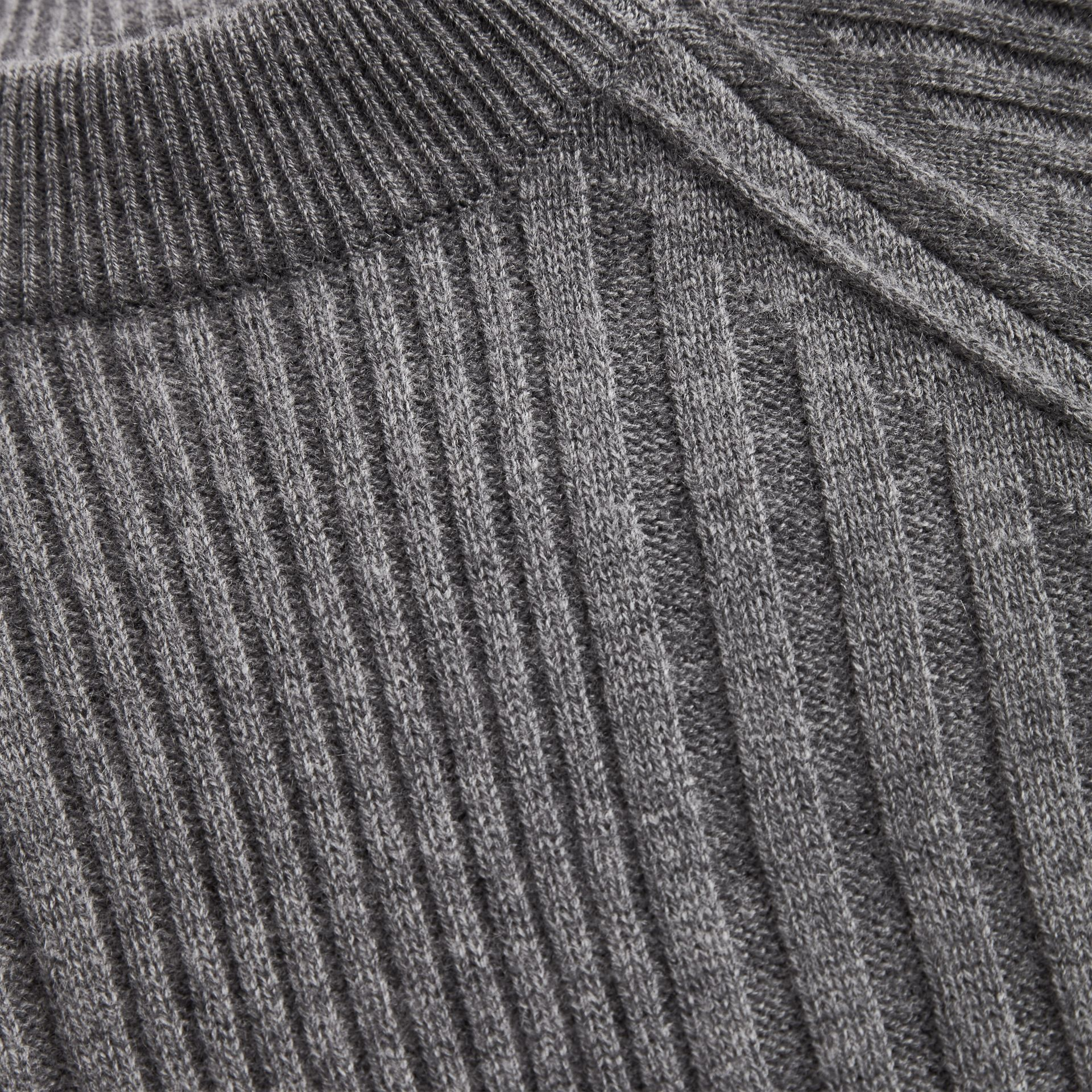 Check Detail Wool Cashmere Dress in Mid Grey Melange | Burberry - gallery image 1