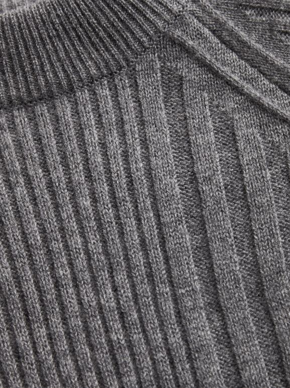 Check Detail Wool Cashmere Dress in Mid Grey Melange | Burberry Australia - cell image 1