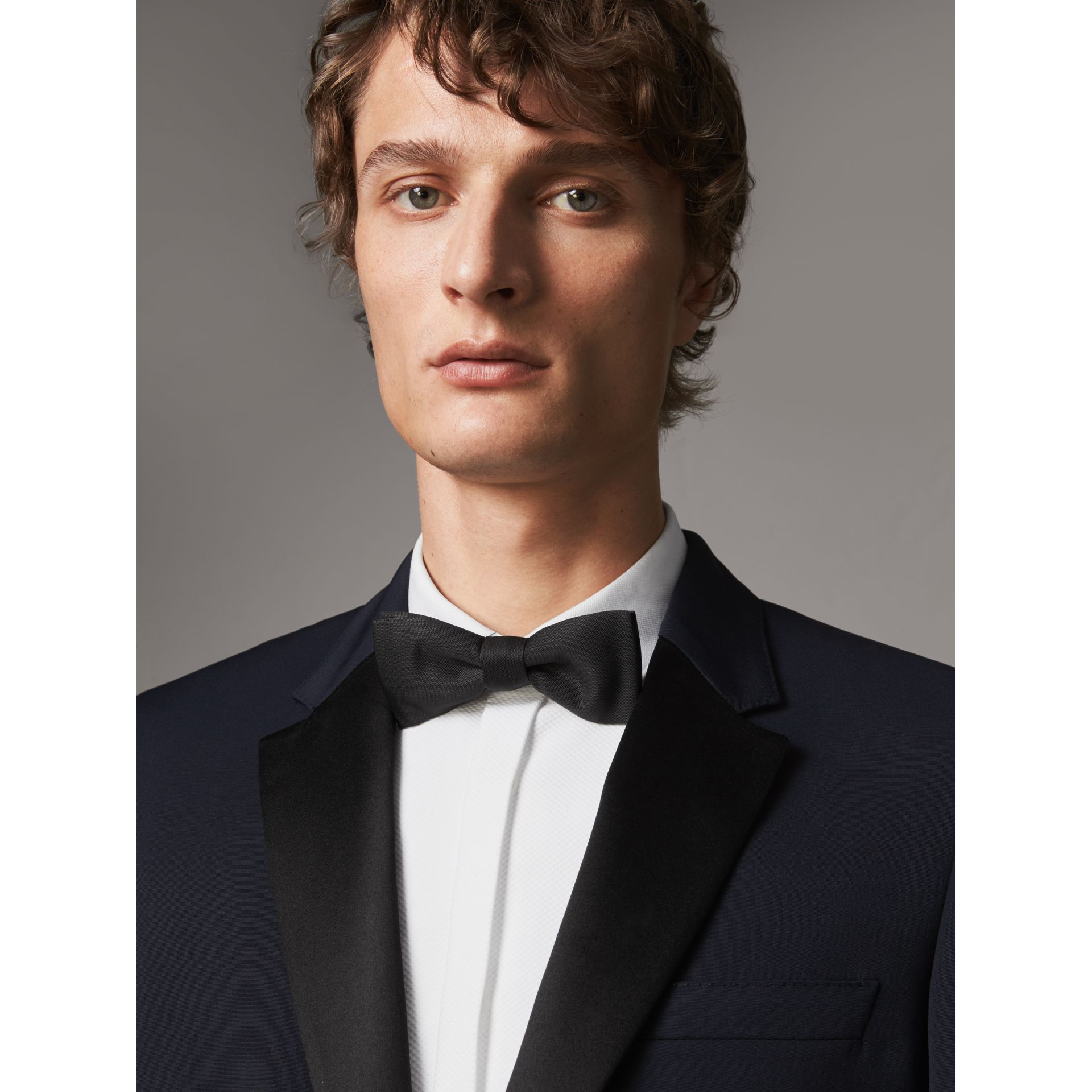 Modern Fit Virgin Wool Half-canvas Tuxedo in Navy - Men | Burberry United Kingdom - gallery image 1
