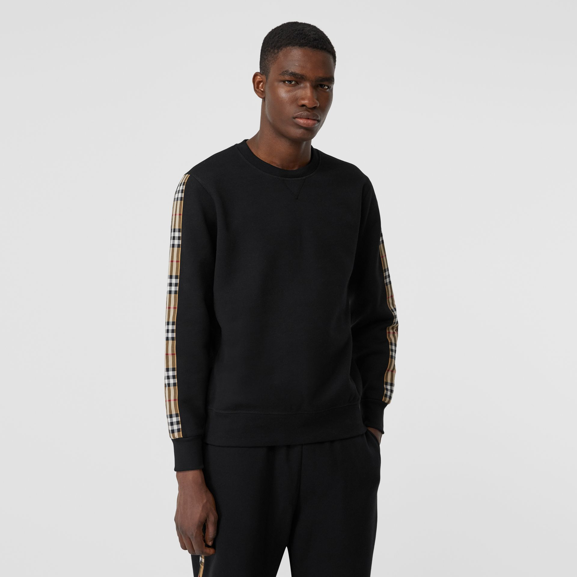 Vintage Check Panel Jersey Sweatshirt in Black - Men | Burberry - gallery image 4