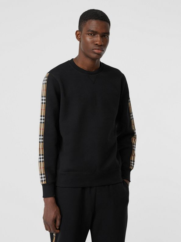 Suéter de malha com recorte em Vintage Check (Preto)