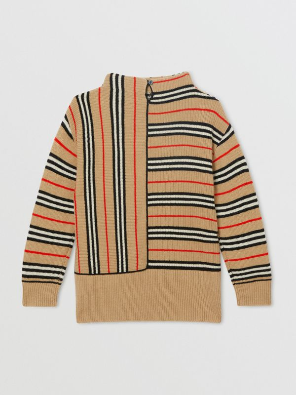 Contrast Icon Stripe Cashmere Wool Sweater in Archive Beige | Burberry - cell image 3