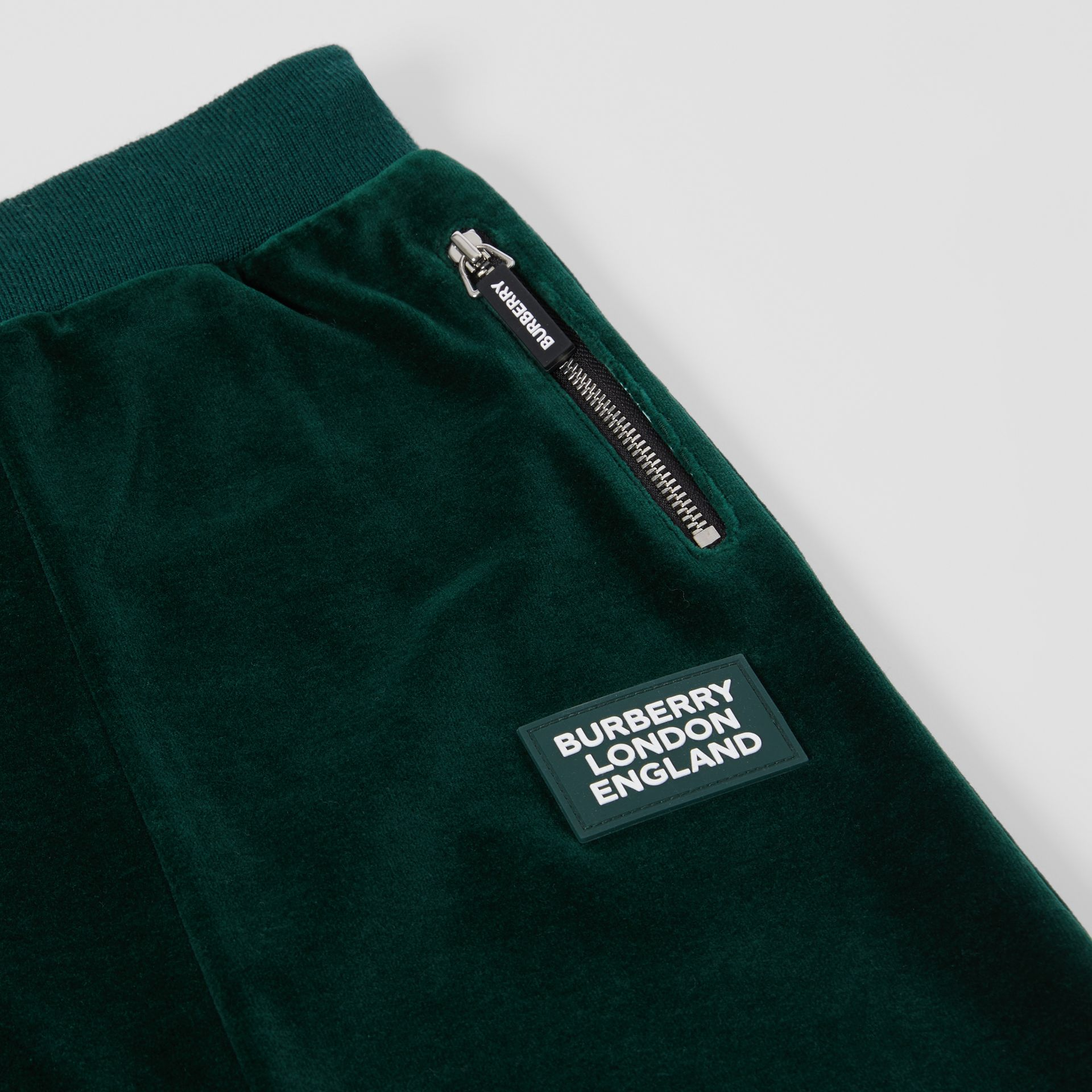 Stripe Trim Velour Trackpants in Dark Pine Green | Burberry - gallery image 1