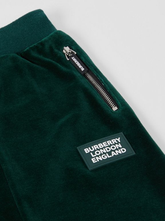 Stripe Trim Velour Trackpants in Dark Pine Green | Burberry Canada - cell image 1