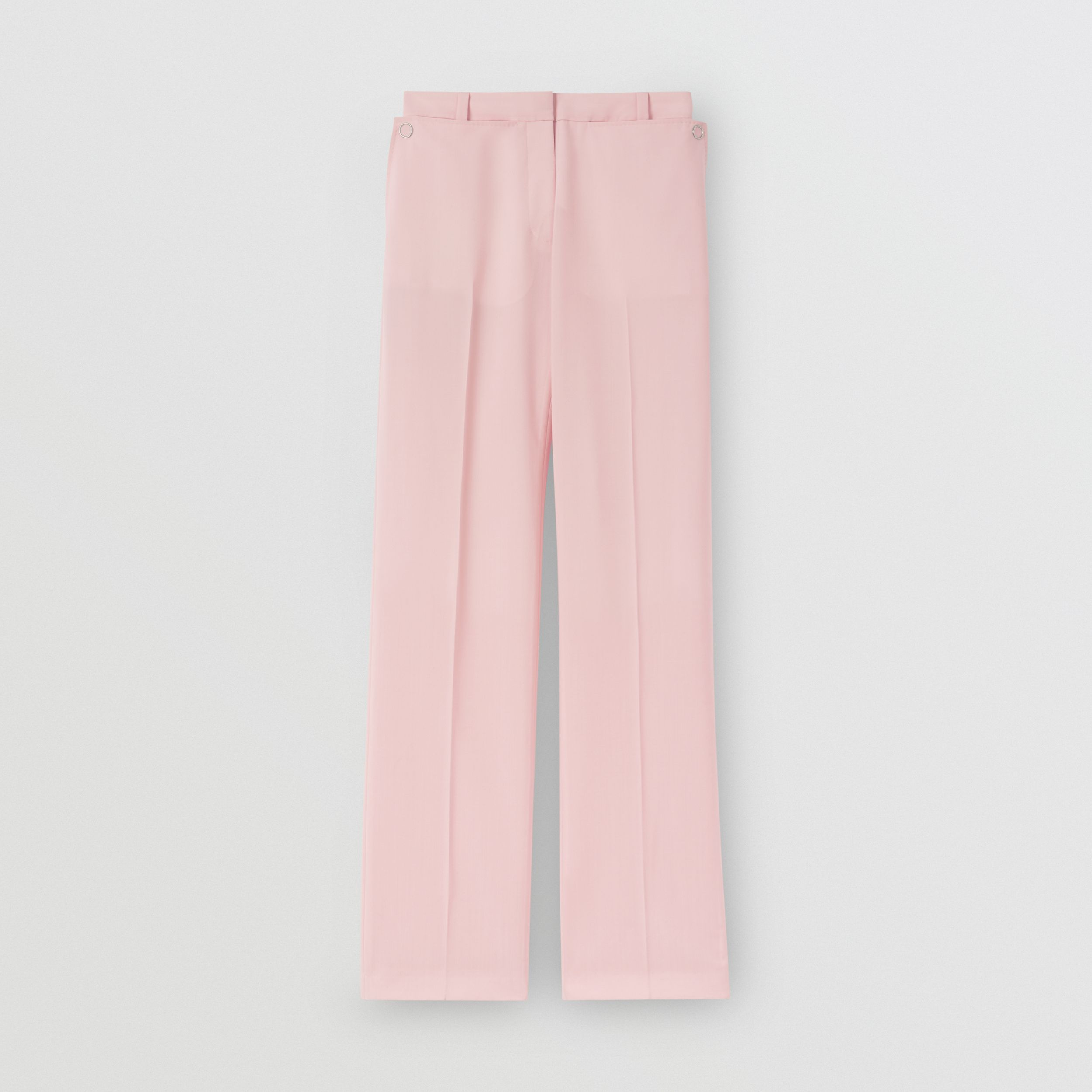Pocket Detail Tumbled Wool Tailored Trousers in Soft Pink - Women | Burberry - 4