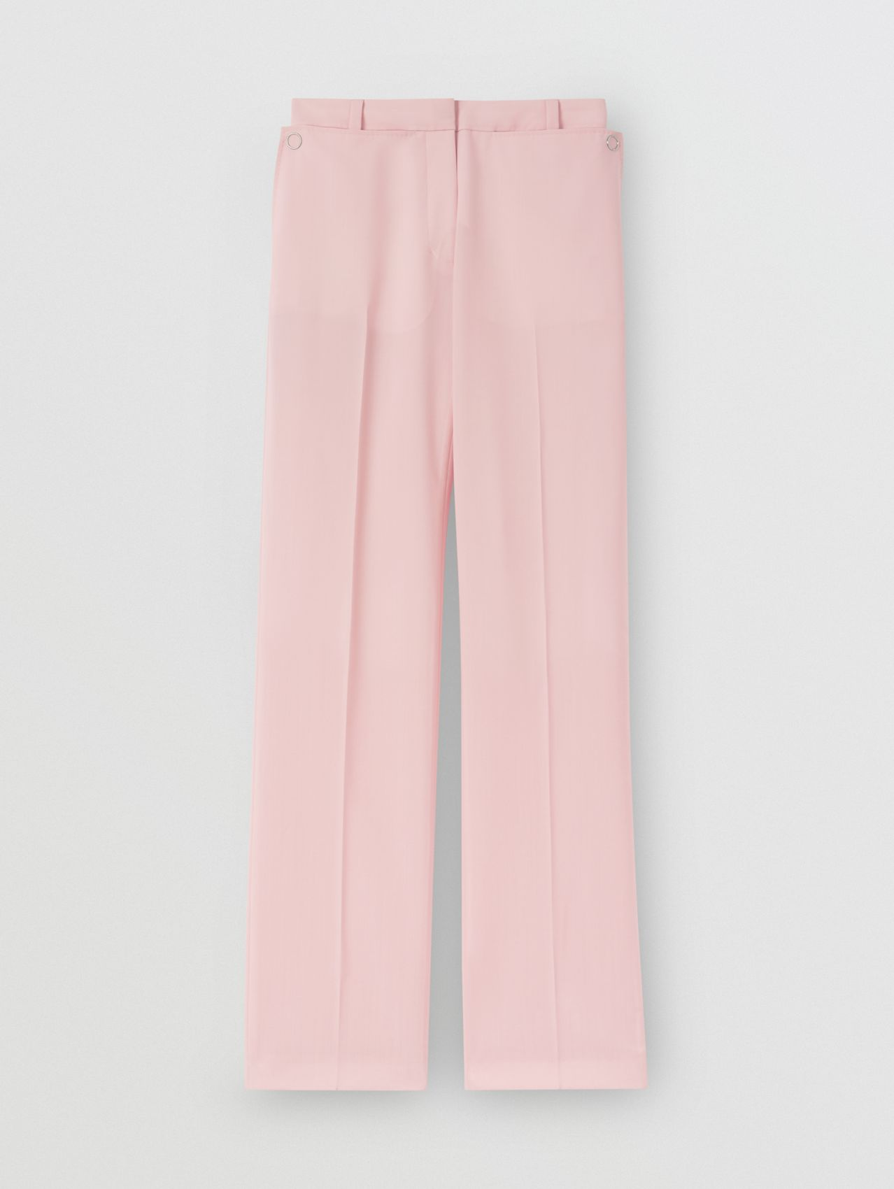 Pocket Detail Tumbled Wool Tailored Trousers in Soft Pink