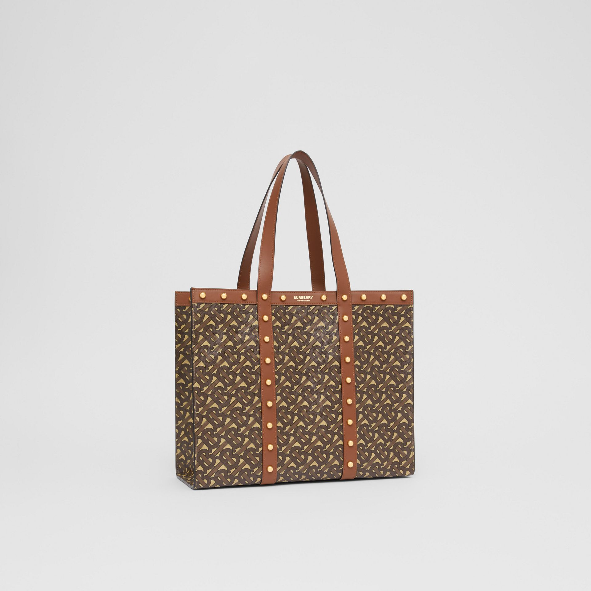 Small Monogram Print E-canvas Tote Bag in Tan | Burberry Hong Kong S.A.R - gallery image 8