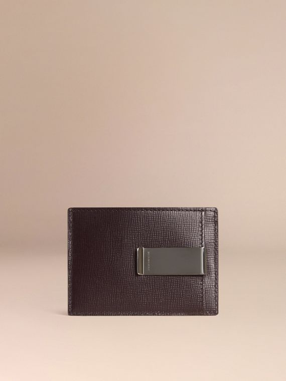 London Leather Money Clip Card Case in Dark Navy - Men | Burberry