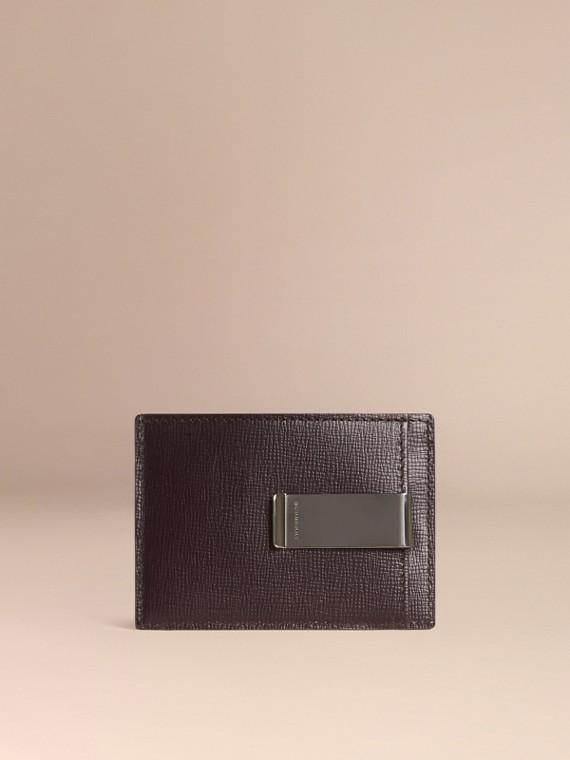 London Leather Money Clip Card Case in Dark Navy - Men | Burberry Singapore
