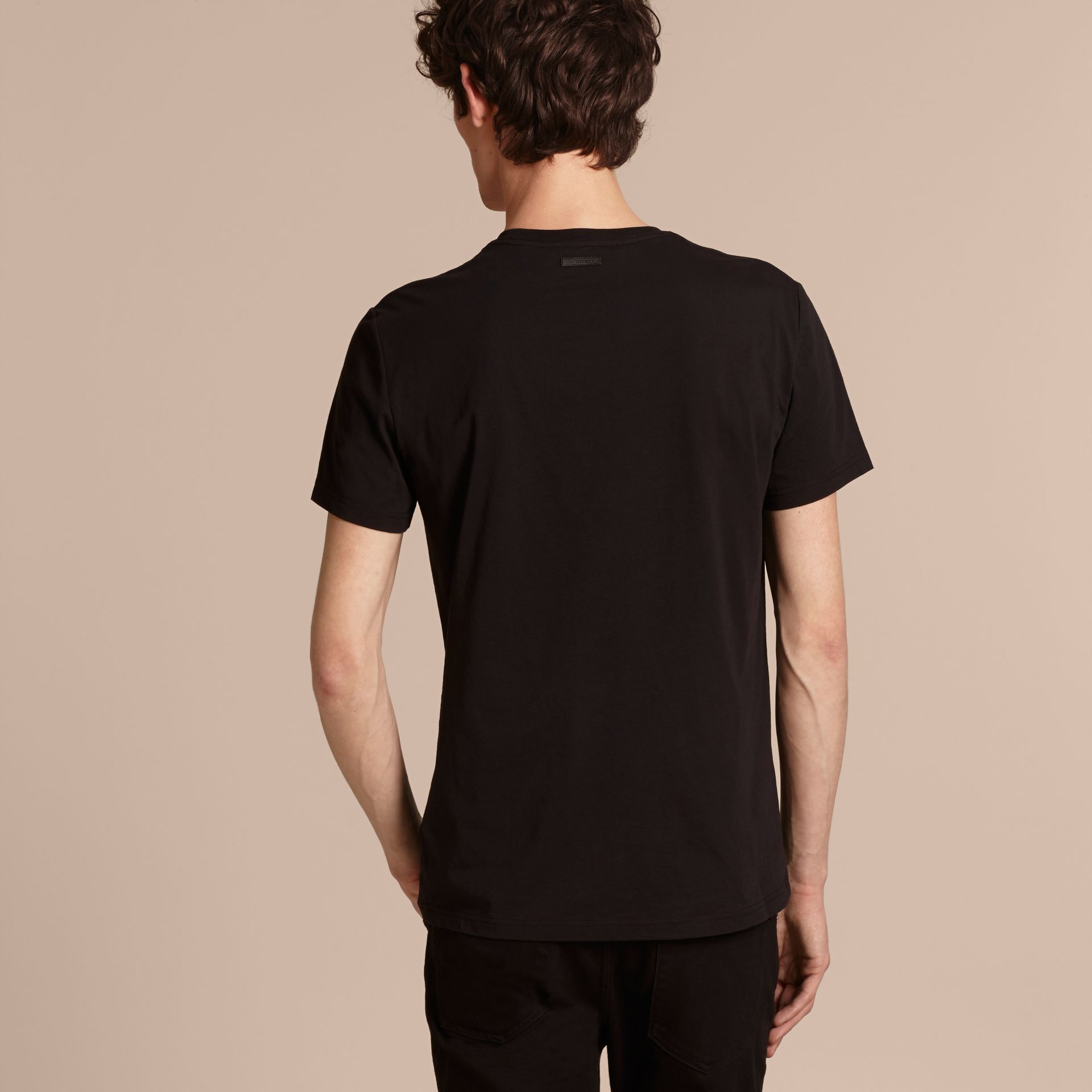 Passion Motif Cotton T-shirt in Black - gallery image 3