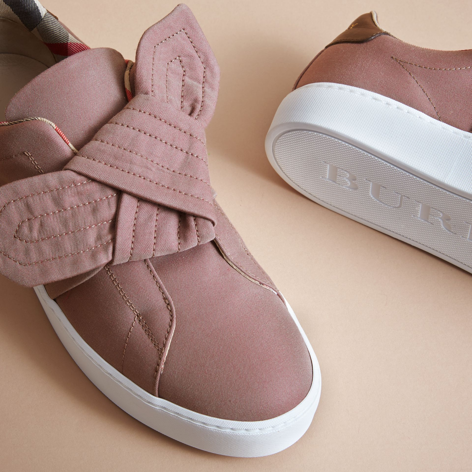Trench Knot Trainers in Antique Rose - Women | Burberry - gallery image 5