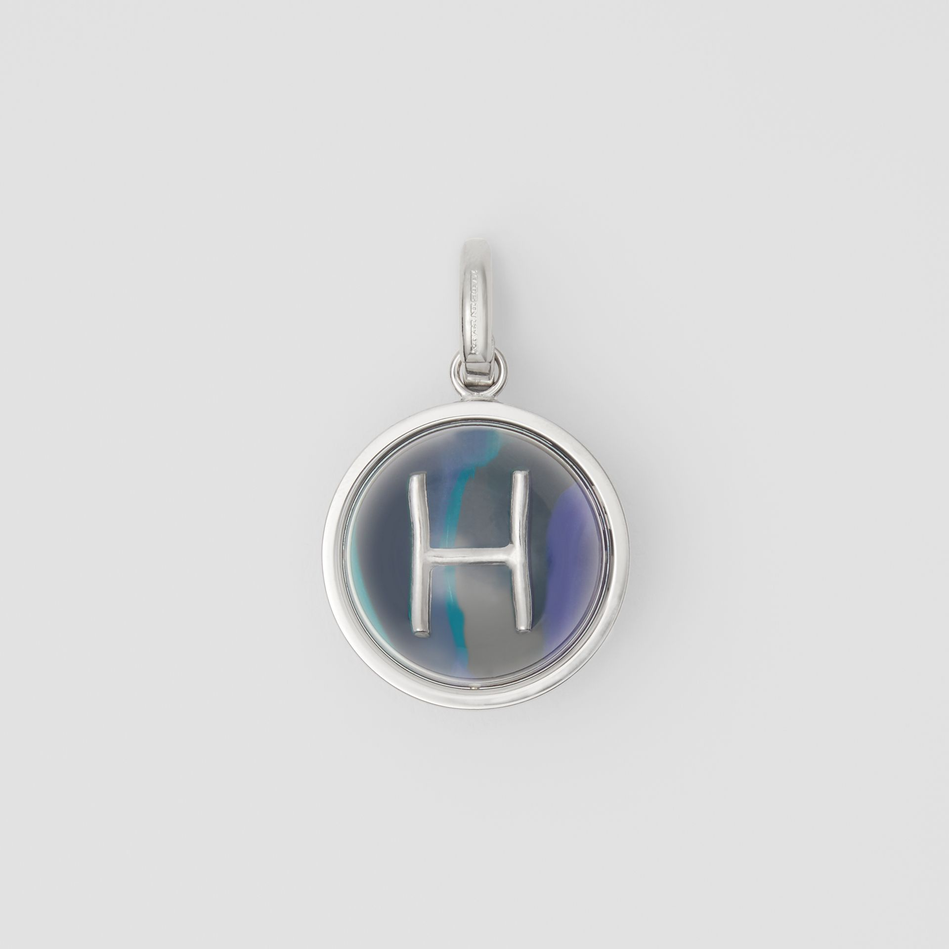 Marbled Resin 'H' Alphabet Charm in Palladio/ocean Blue - Women | Burberry - gallery image 0