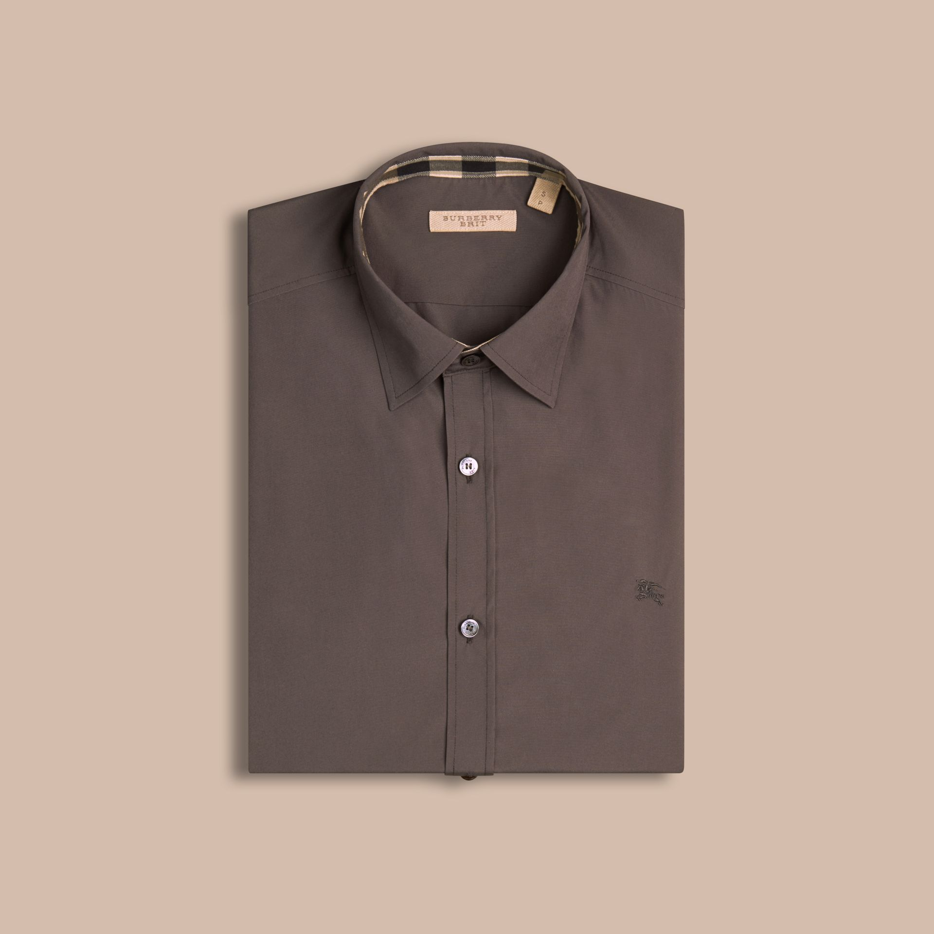 Check Detail Stretch Cotton Poplin Shirt Stone Grey - gallery image 4
