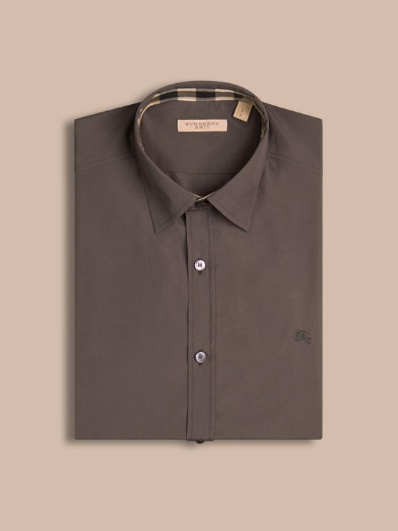 Check Detail Stretch Cotton Poplin Shirt Stone Grey - cell image 3