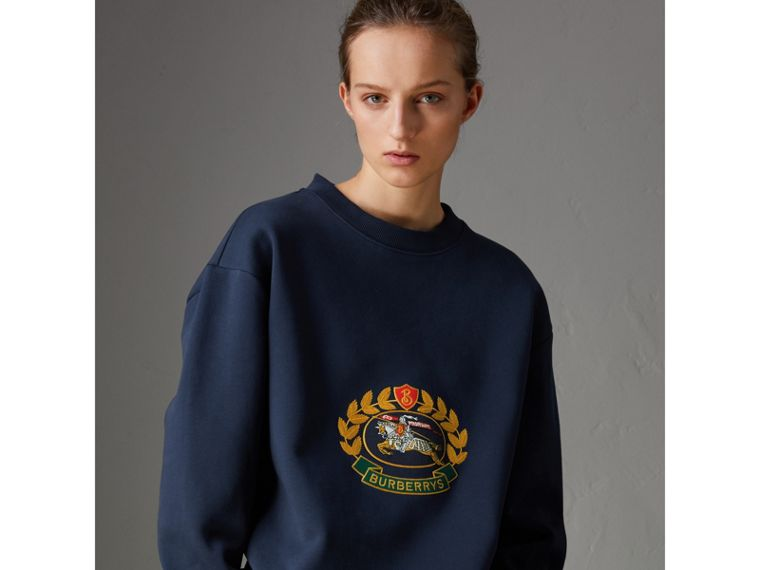 Reissued Jersey Sweatshirt in Dark Blue - Women | Burberry Singapore - cell image 4