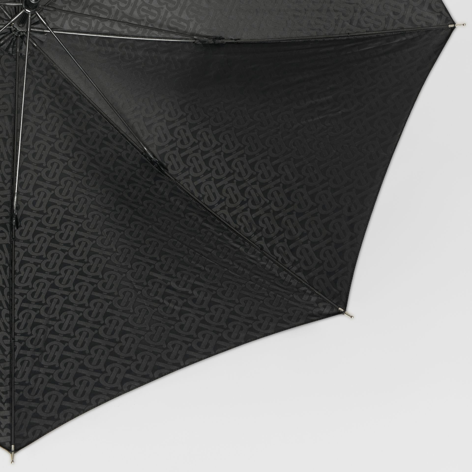 Monogram Print Umbrella in Black | Burberry United States - gallery image 1