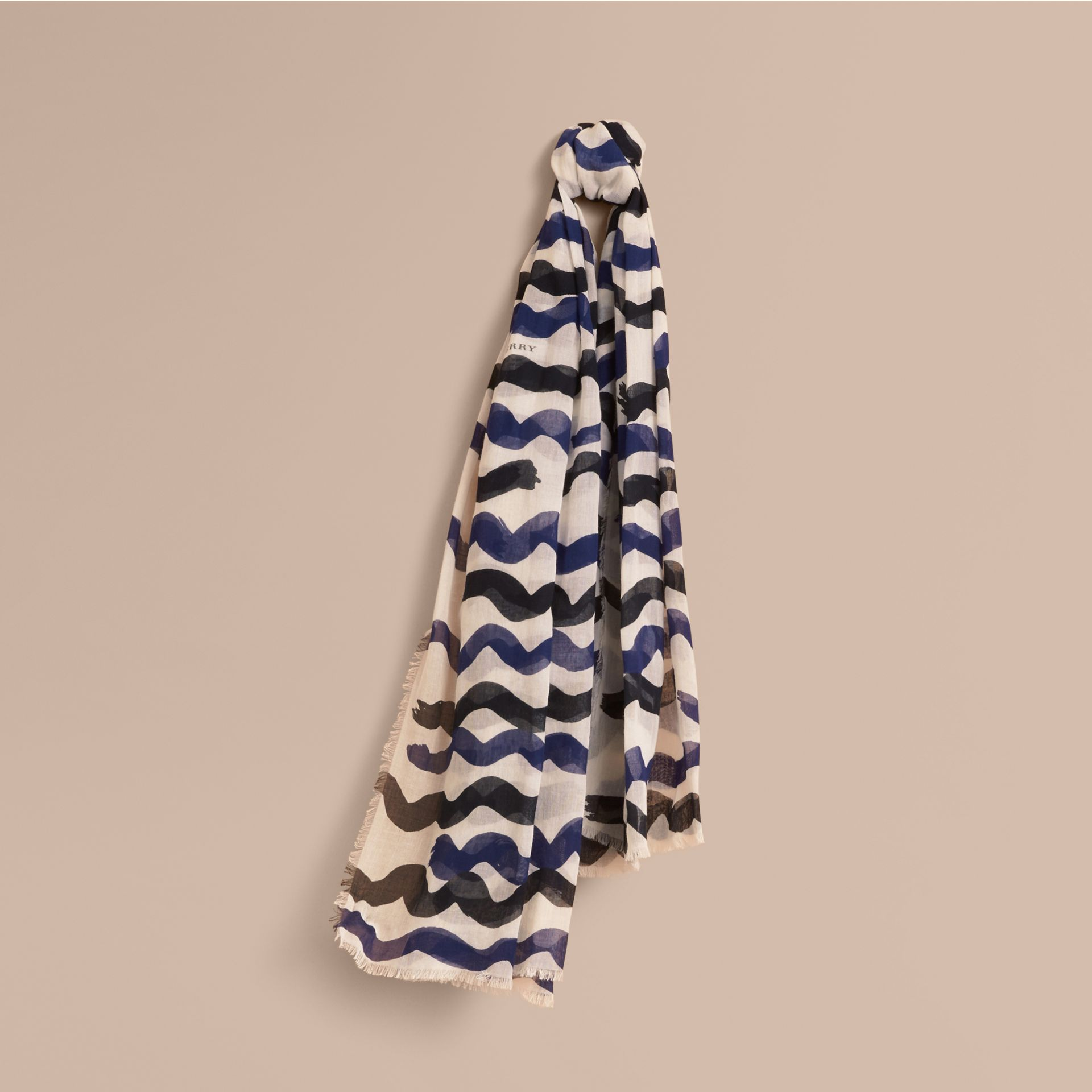 Waves Print Cotton Cashmere Scarf Bright Navy - gallery image 1