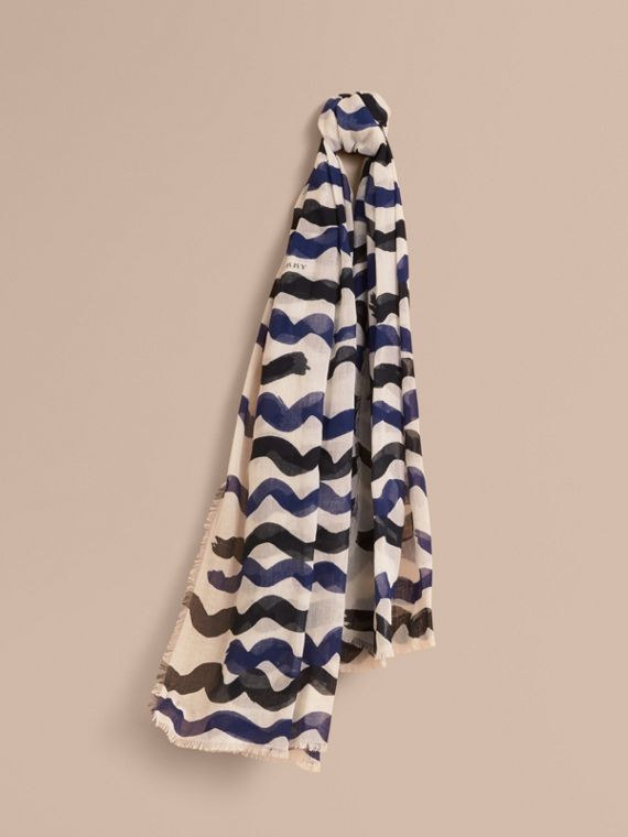 Waves Print Cotton Cashmere Scarf in Bright Navy