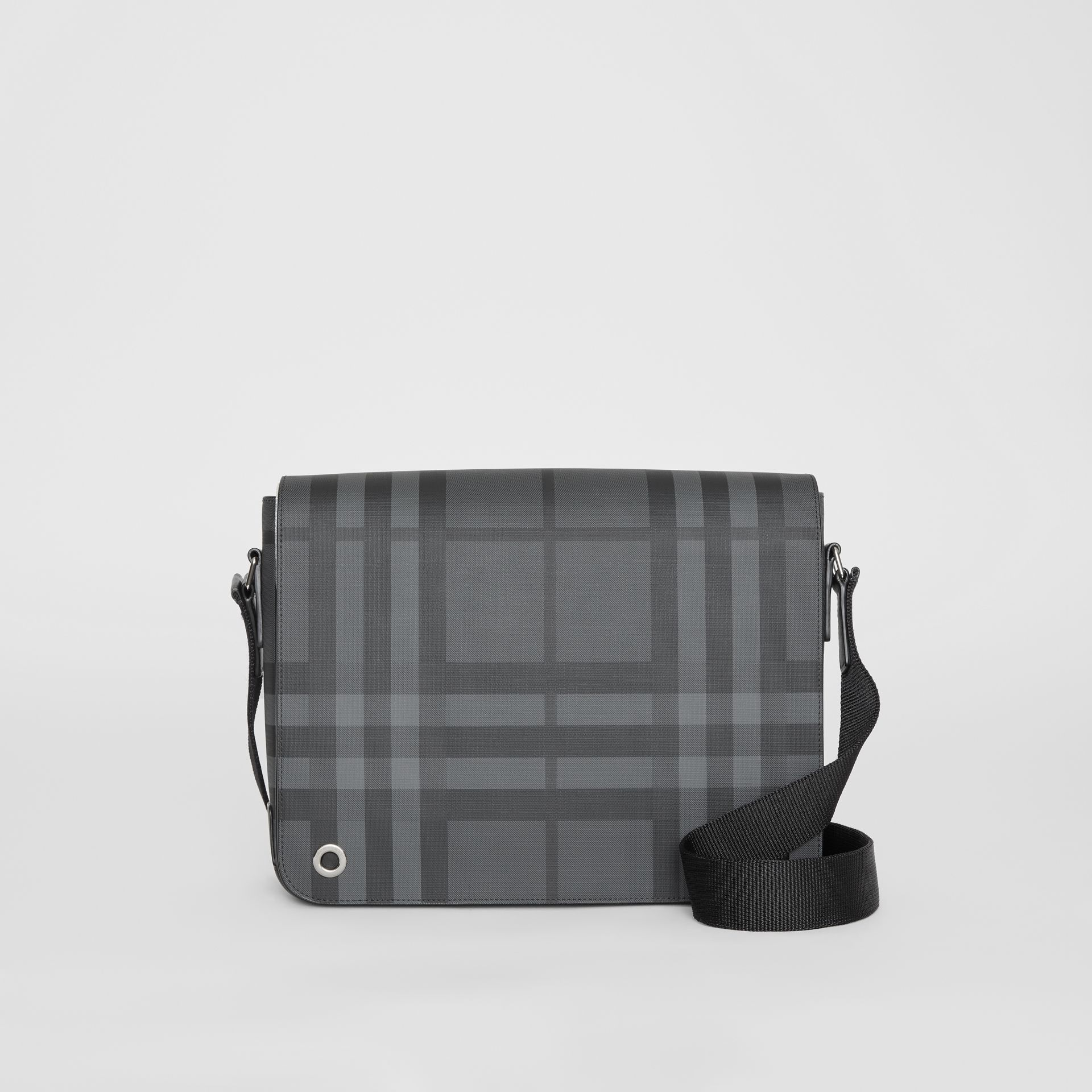 Small London Check Satchel in Charcoal/black - Men | Burberry United Kingdom - gallery image 0