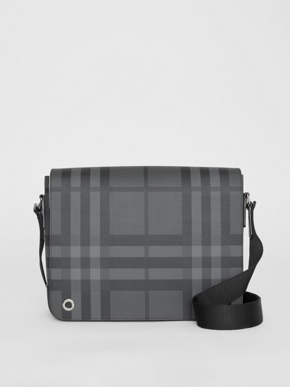 Small London Check Satchel in Charcoal/black