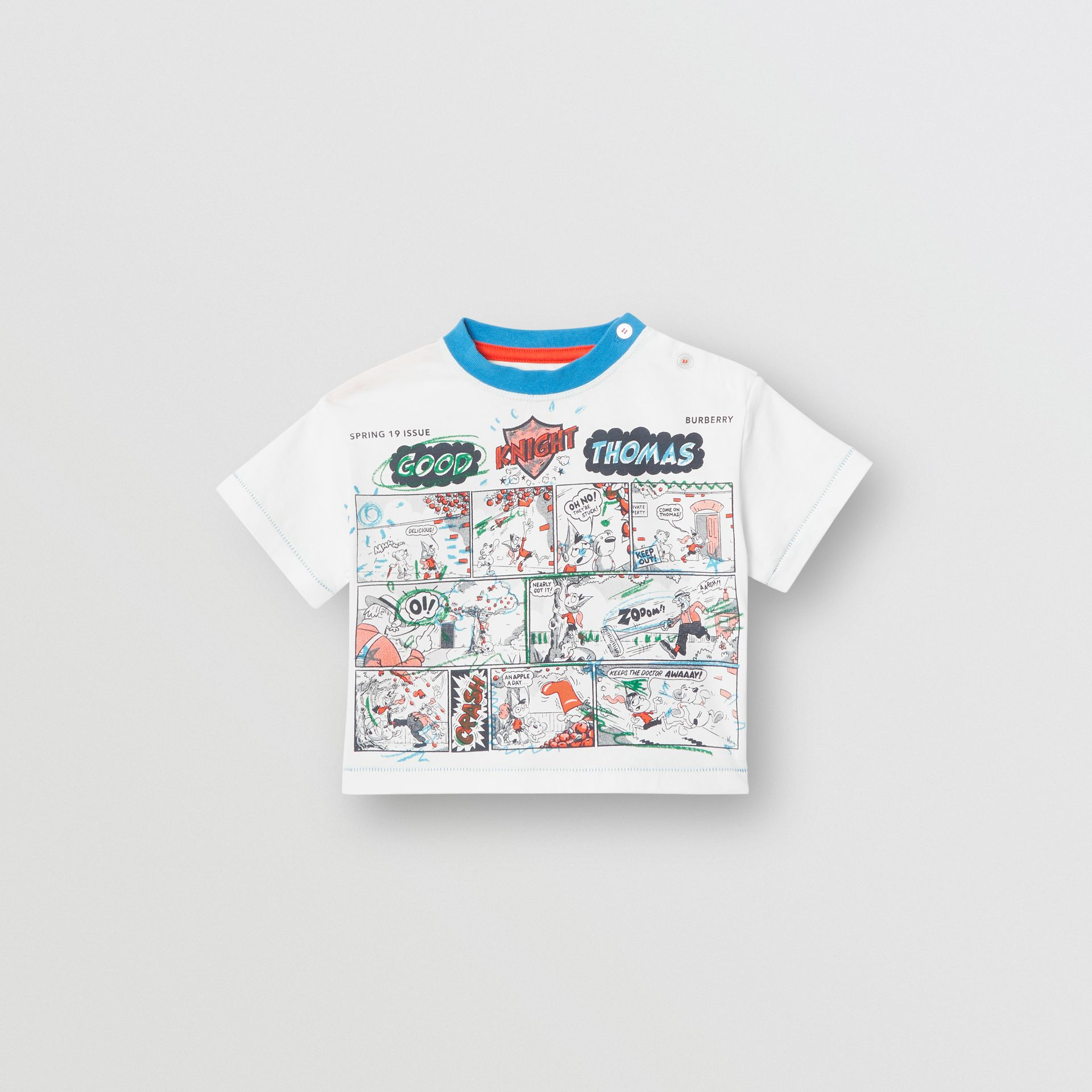 Comic Strip Print Cotton T-shirt in Natural White - Children | Burberry - gallery image 0