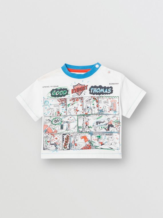 Comic Strip Print Cotton T-shirt in Natural White
