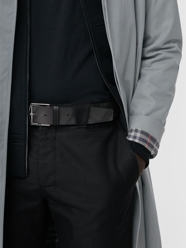Leather Trim London Check Belt in Charcoal/black - Men | Burberry United Kingdom - cell image 2