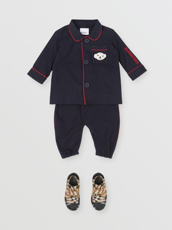 Thomas Bear Detail Cotton Flannel Pyjama Shirt in Navy - Children | Burberry - cell image 2