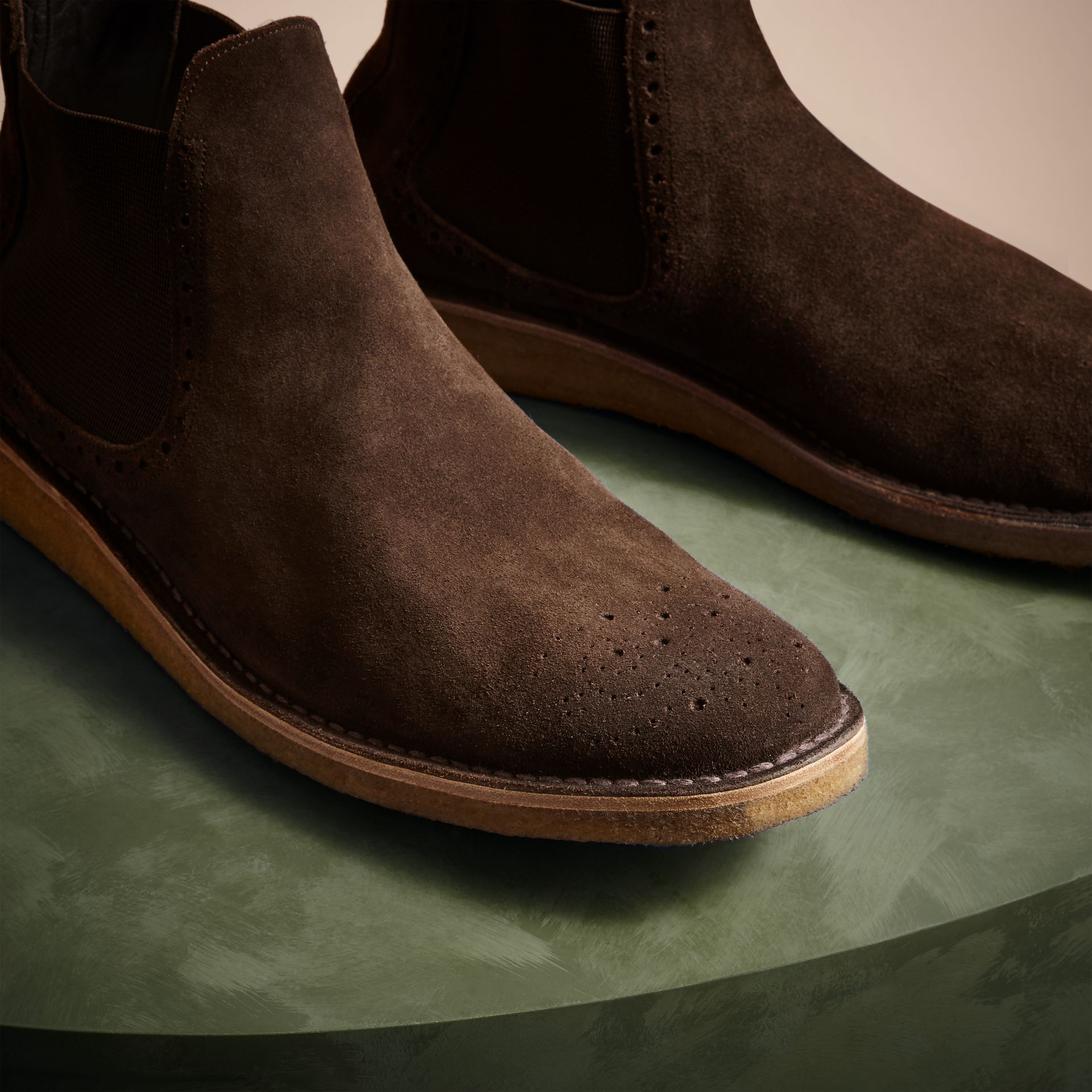 Peat brown Washed-suede Chelsea Boots with Crepe Soles - gallery image 3