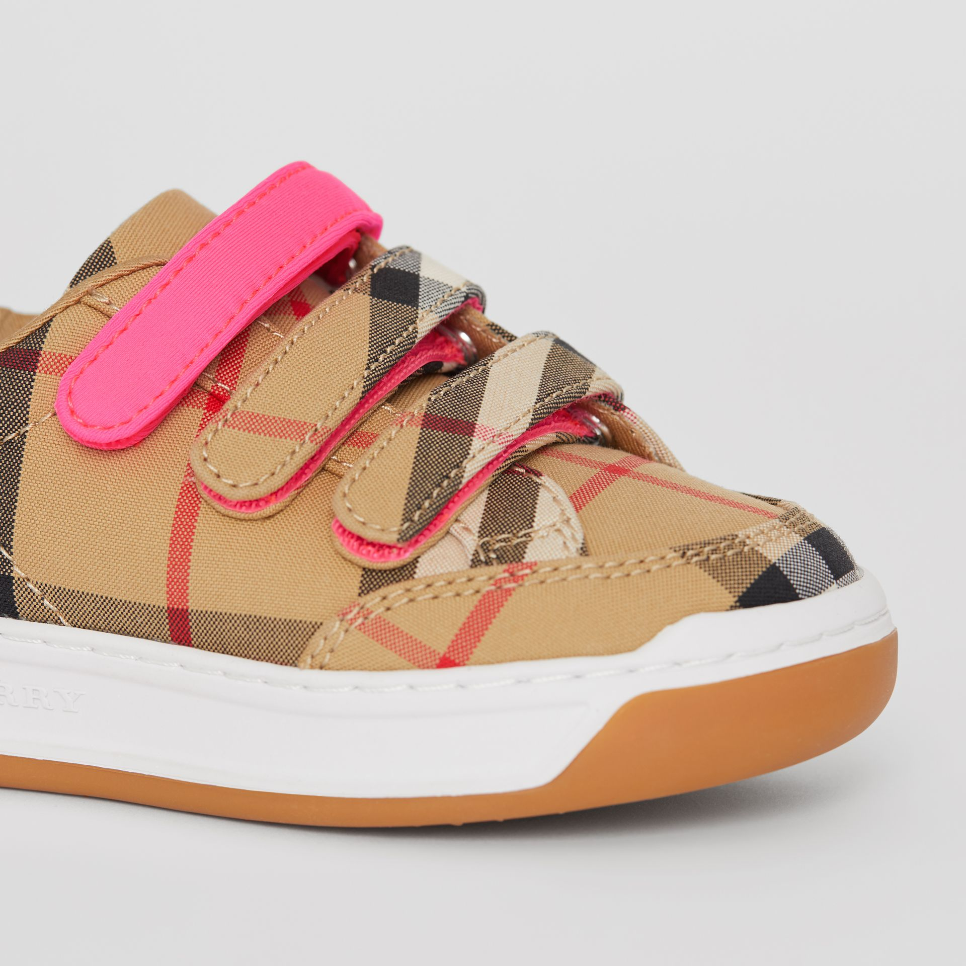 Vintage Check Sneakers in Antique Yellow/neon Pink - Children | Burberry Singapore - gallery image 1