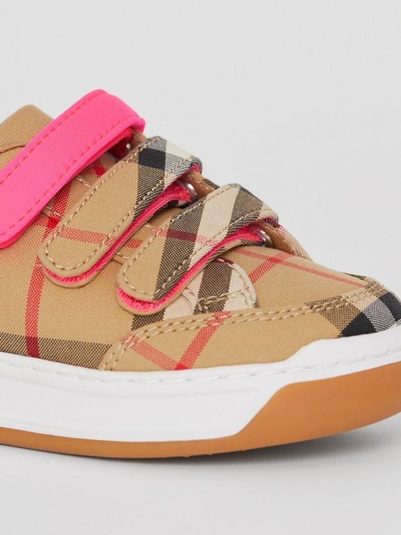 Vintage Check Sneakers in Antique Yellow/neon Pink - Children | Burberry - cell image 1