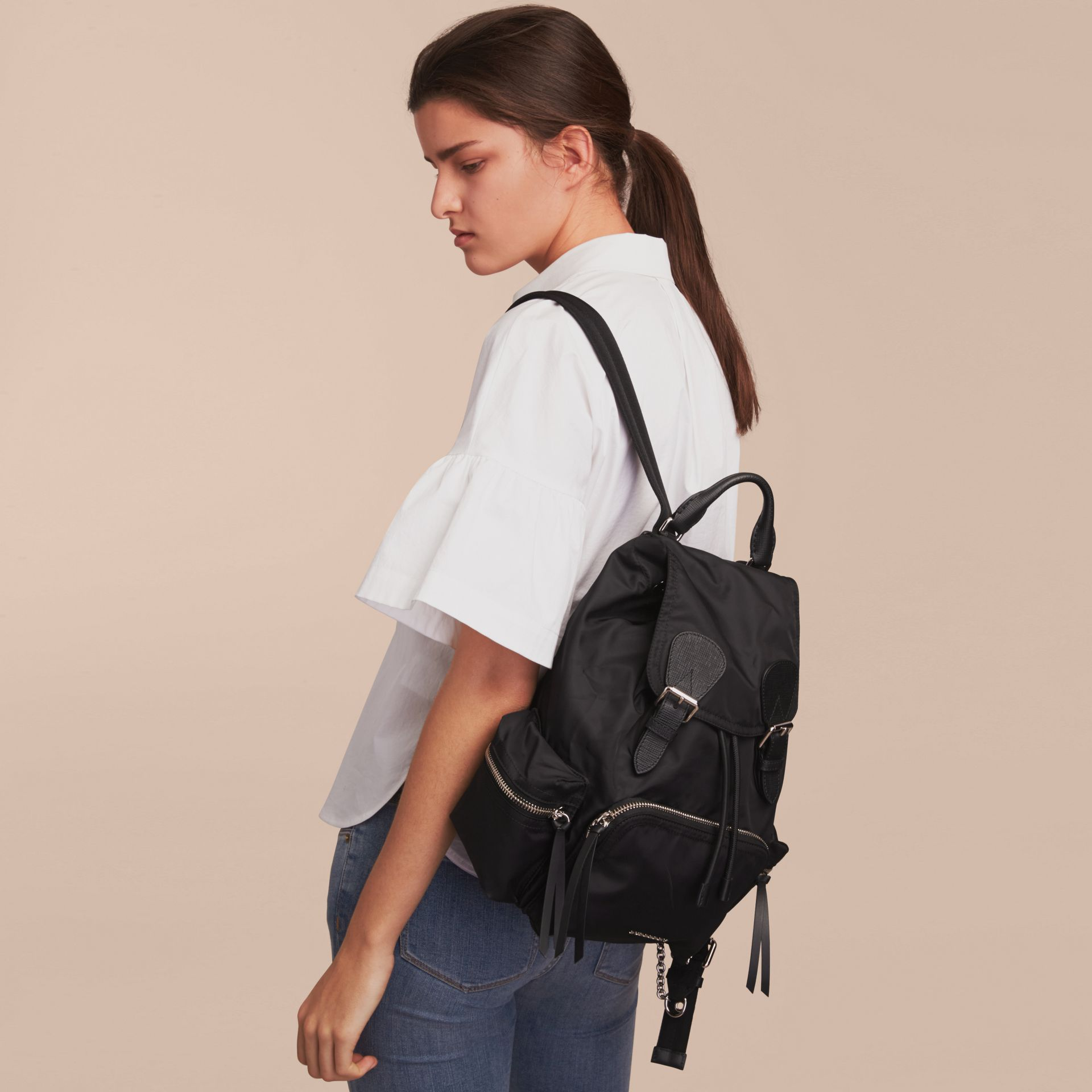 The Medium Rucksack in Nylon and Leather - gallery image 3