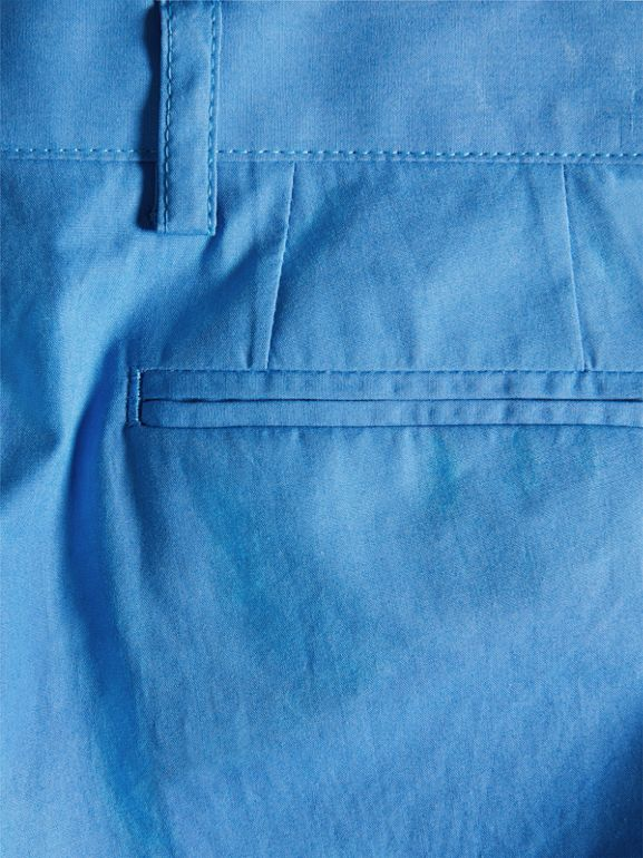 Cotton Poplin Tailored Trousers in Azure Blue | Burberry - cell image 1