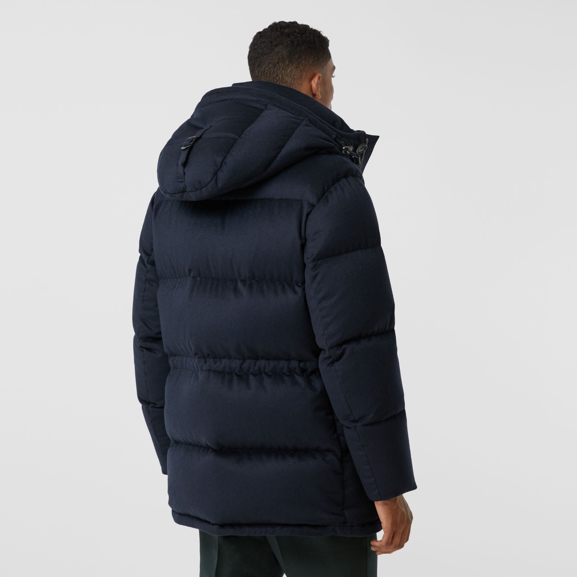 Cashmere Hooded Puffer Coat in Navy - Men | Burberry United States - gallery image 2