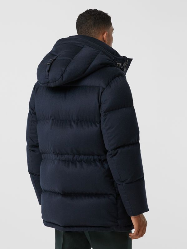 Cashmere Hooded Puffer Coat in Navy - Men | Burberry United States - cell image 2