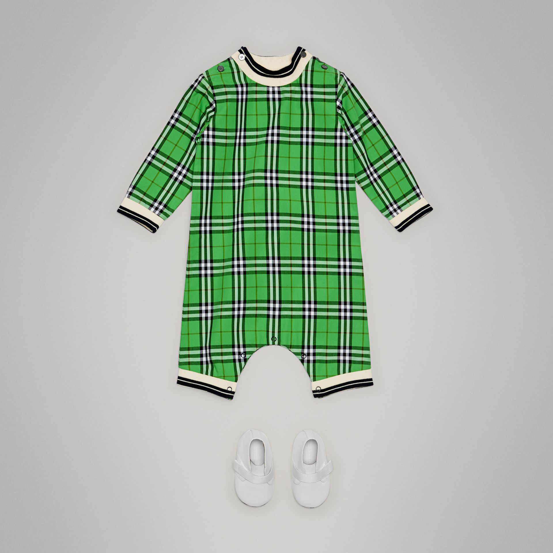 Check Cotton Jumpsuit in Bright Grass Green - Children | Burberry United Kingdom - gallery image 2