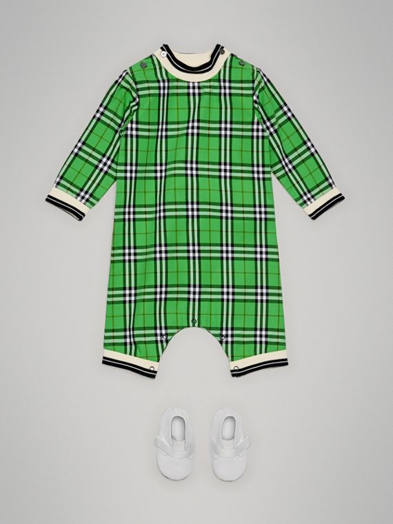 Check Cotton Jumpsuit in Bright Grass Green | Burberry - cell image 2