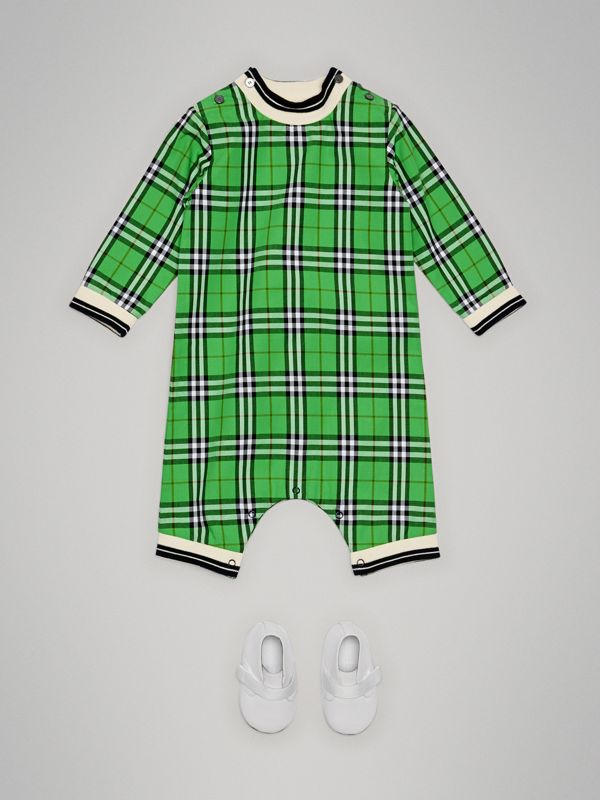 Check Cotton Jumpsuit in Bright Grass Green - Children | Burberry - cell image 2
