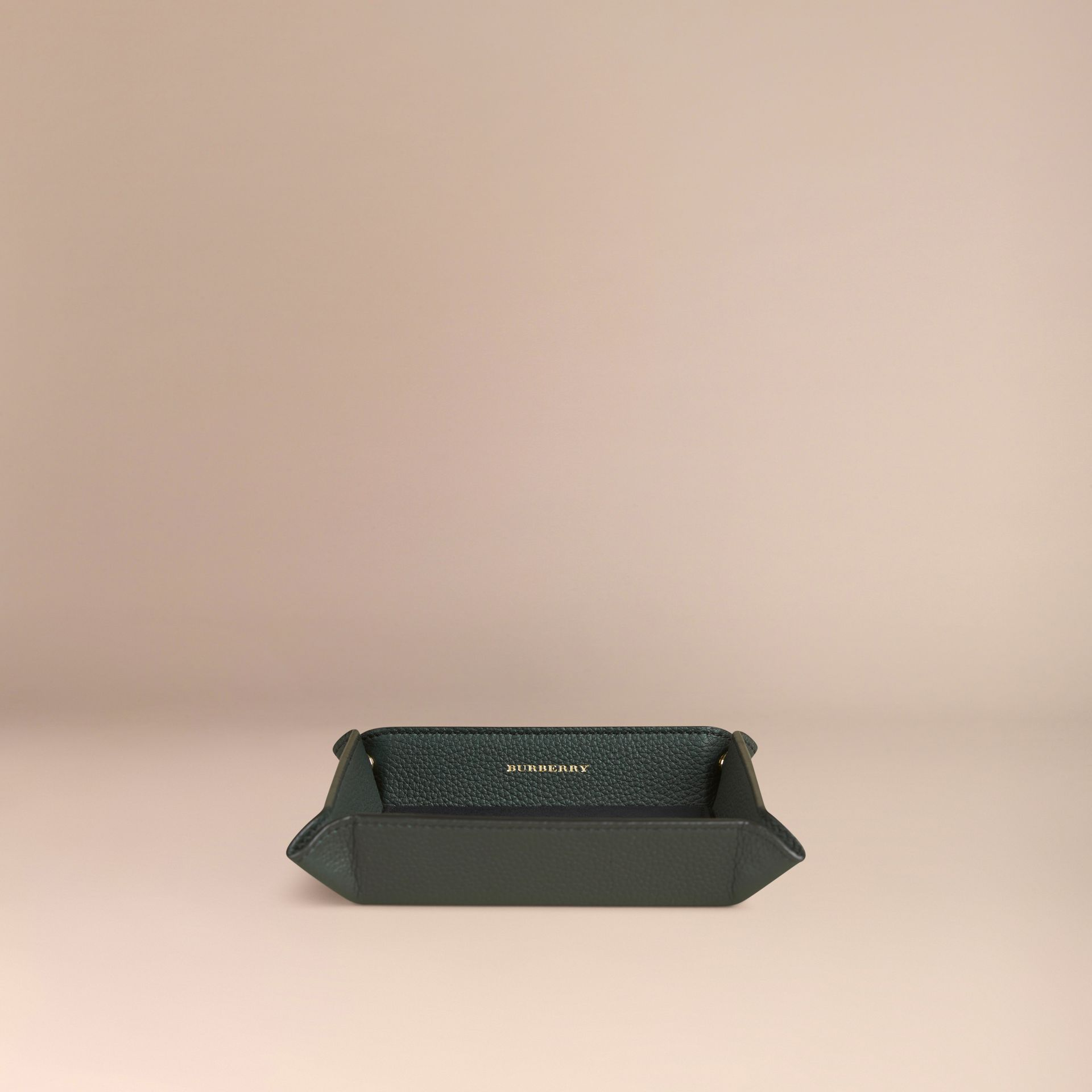 Dark forest green Grainy Leather Valet Tray Dark Forest Green - gallery image 3