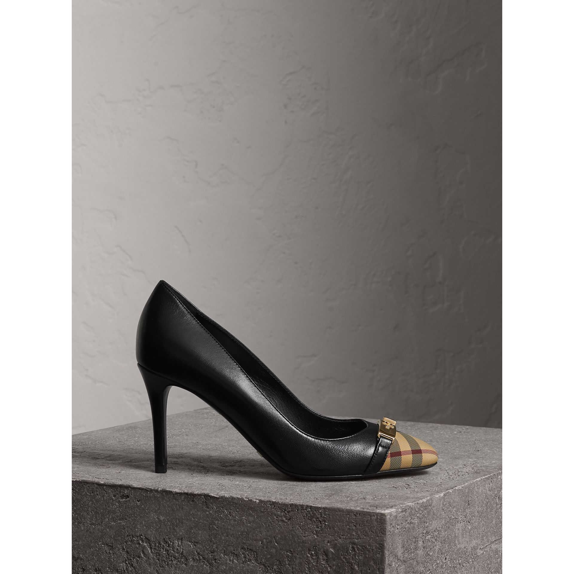 Horseferry Check Leather Pumps in Black - Women | Burberry - gallery image 1