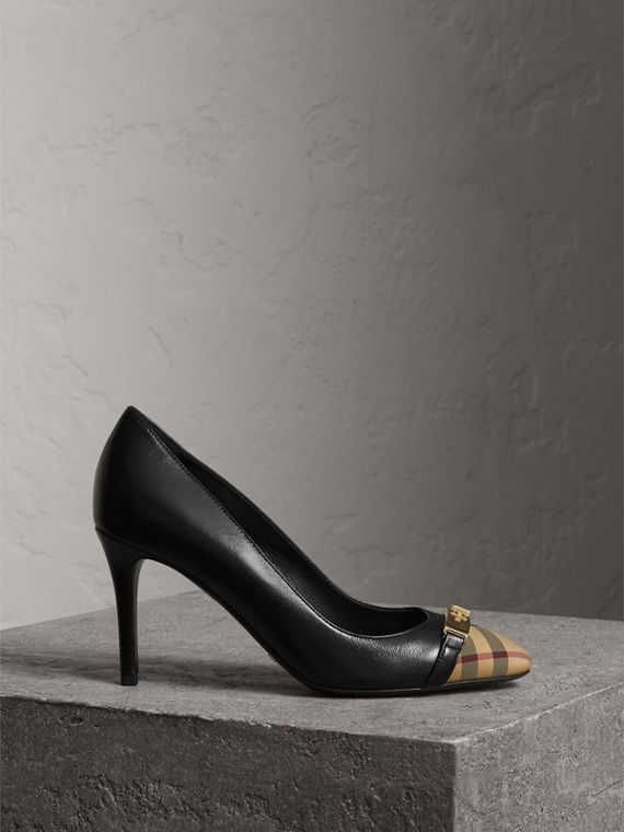 Horseferry Check Leather Pumps in Black