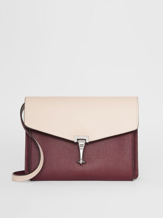 Two-tone Leather Crossbody Bag in Mahogany Red/limestone