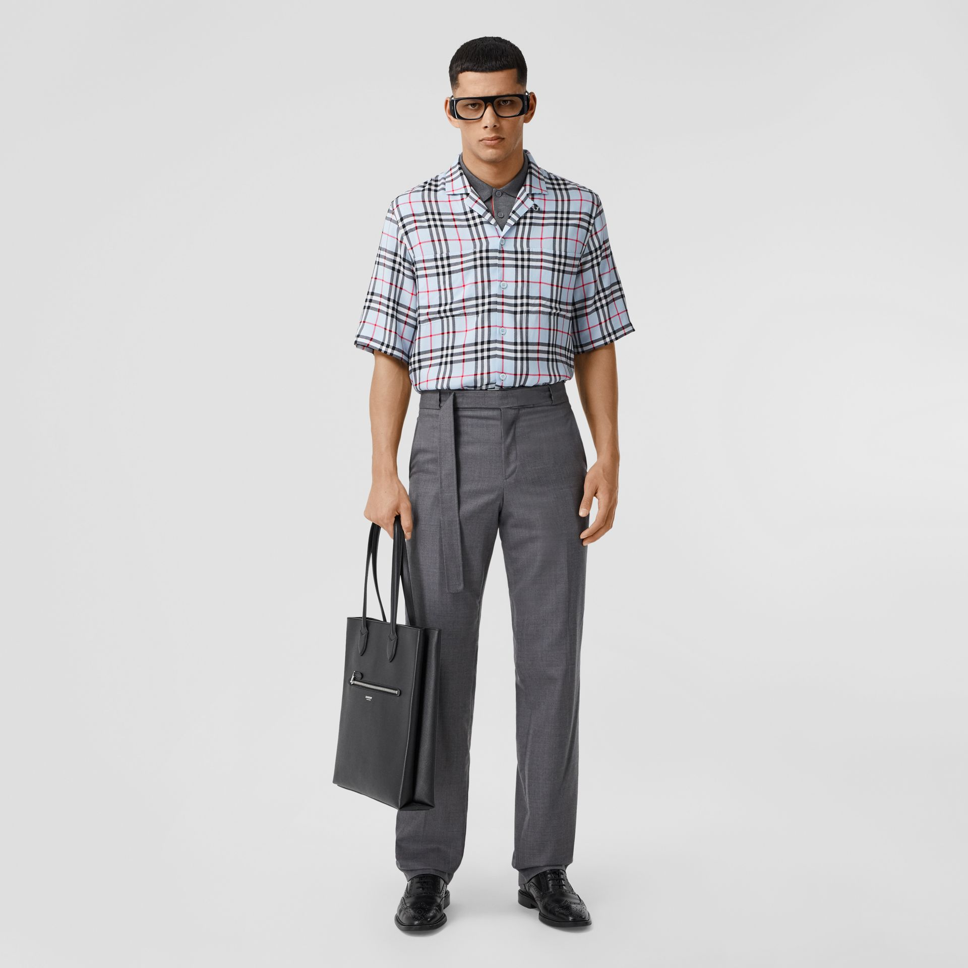 Short-sleeve Vintage Check Twill Shirt in Pale Blue - Men | Burberry United Kingdom - gallery image 4