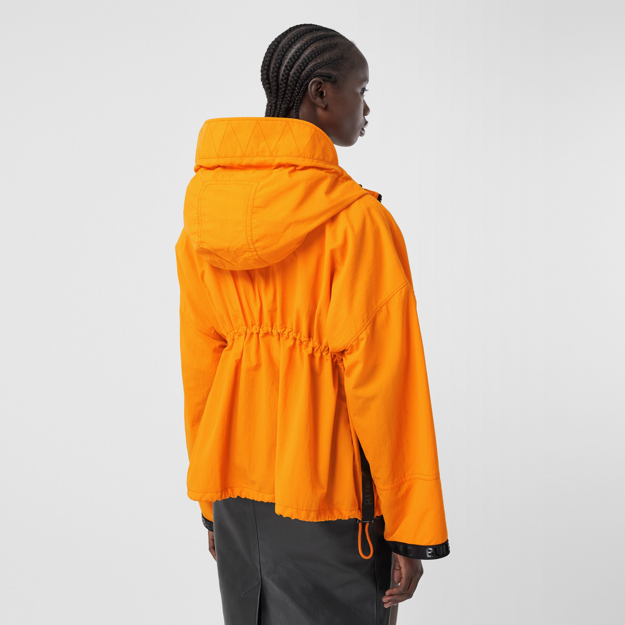Logo Tape Technical Nylon Hooded Jacket in Bright Orange - Women | Burberry - 3