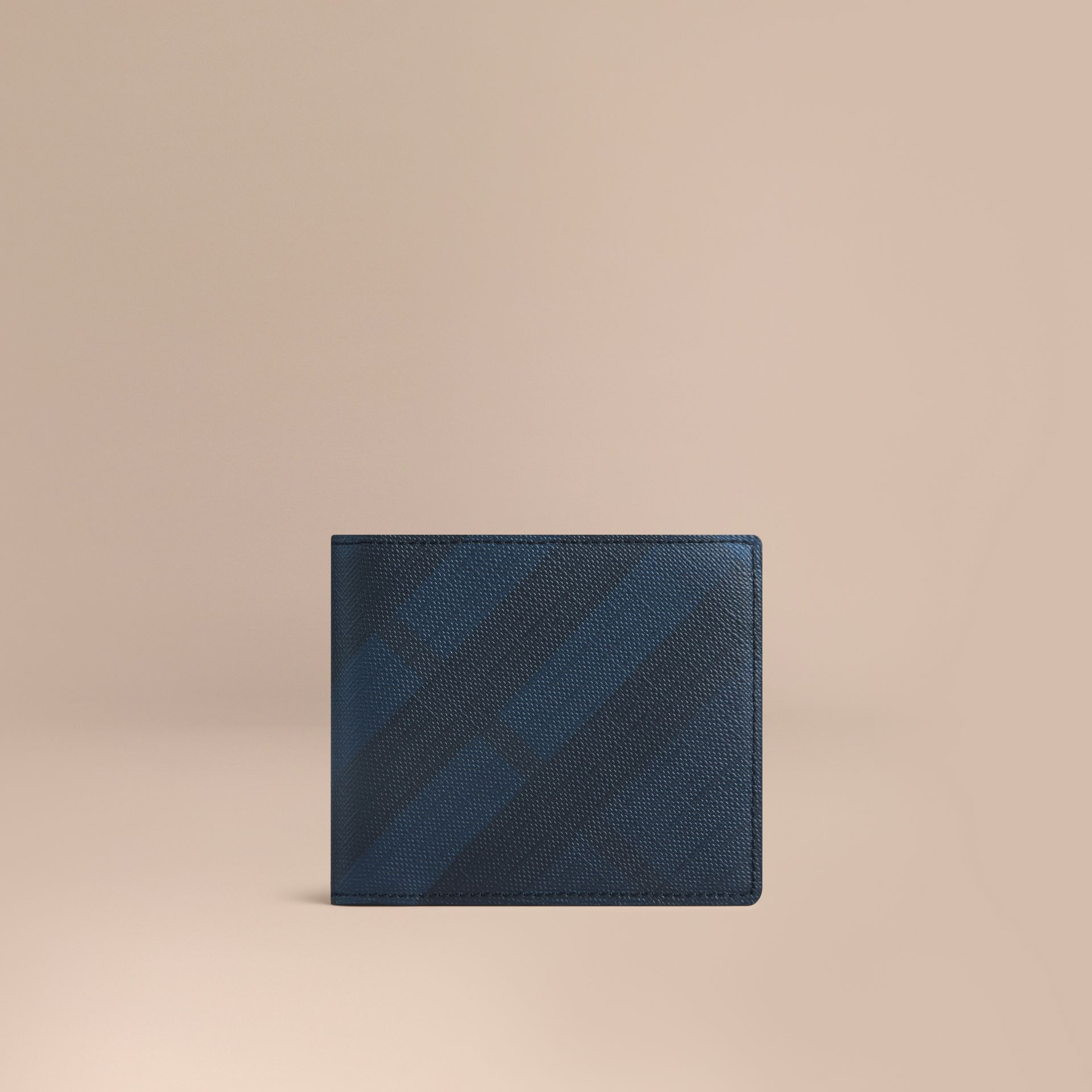 London Check ID Wallet in Navy/black - gallery image 1