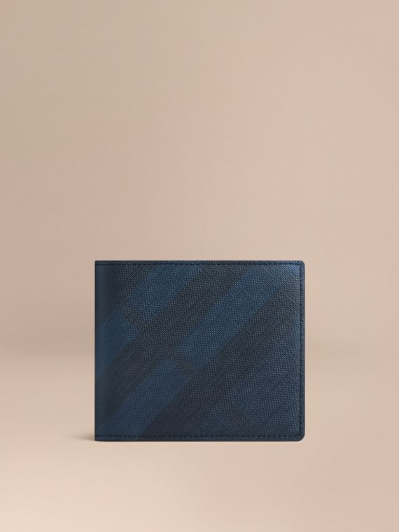 London Check ID Wallet in Navy/black - Men | Burberry