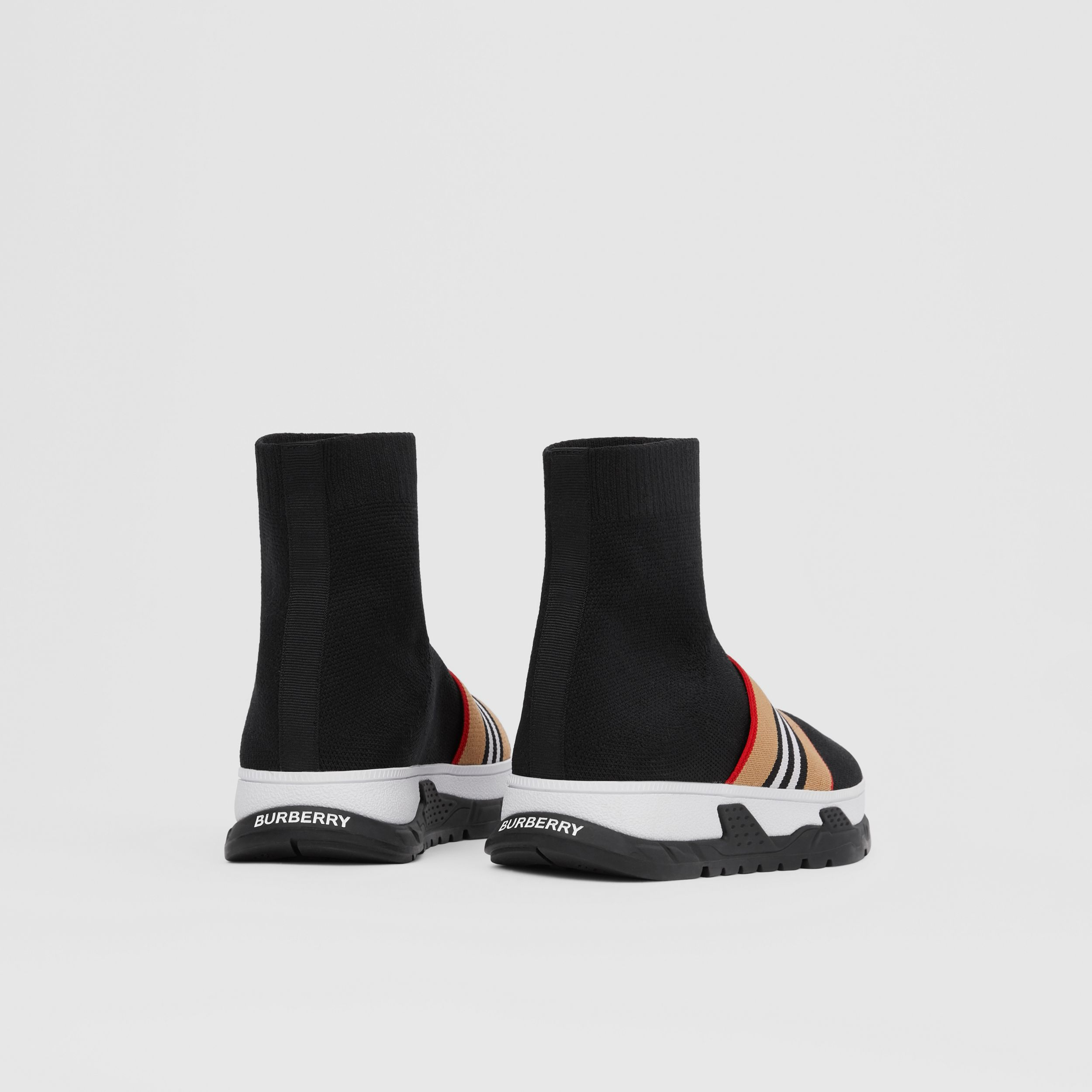 Icon Stripe Detail Stretch Knit Sock Sneakers in Black - Children | Burberry - 3